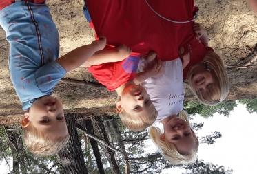 Lien, Lotte, Finn en Vic Vangelooven